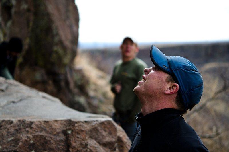 Rock Climbing Photo: Travis is blurry like bigfoot