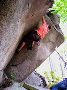 Rock Climbing Photo: Matty on the V4 at Cavalry Boulder.  This belies t...