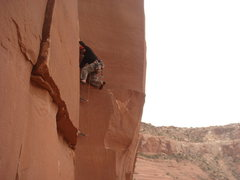 Rock Climbing Photo: Climbing the first pitch of Fearless.