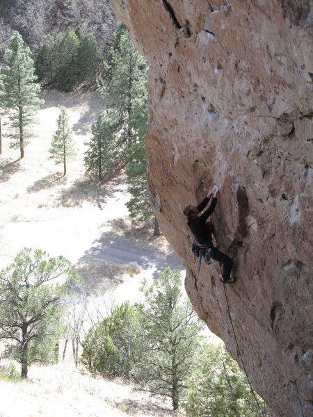 Rock Climbing Photo: Easier climbing in the middle portion of the route...