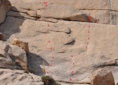 Rock Climbing Photo: Hidden Slab  A. Private Eye 5.10a B. Under the Rad...