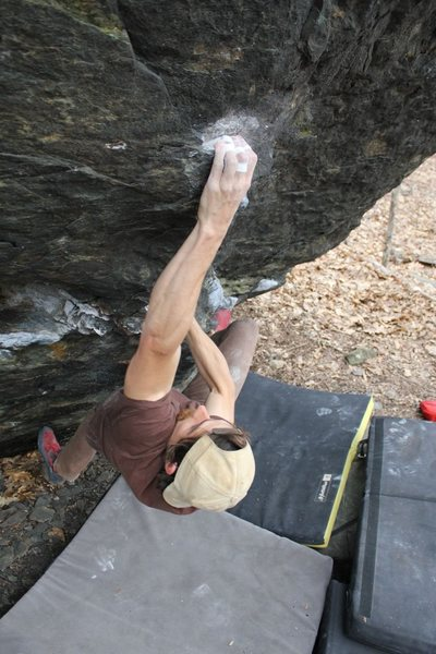 Rock Climbing Photo: Sam sending without the heel/toe cam.