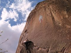 Rock Climbing Photo: Redpoint attempt on Los Hermanos de la Weenie Way