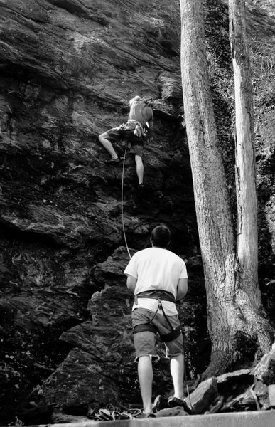 Rock Climbing Photo: Myself belaying Tim on this great route.