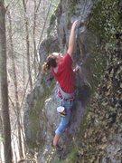 Rock Climbing Photo: Sam reaching!