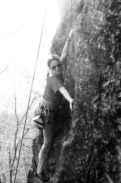 Rock Climbing Photo: Sam making use of her palm.