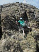 Rock Climbing Photo: The Dreaded Wonder (Tim Mijal) at the lower crux.