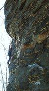 Rock Climbing Photo: Bruce approaching the roof.