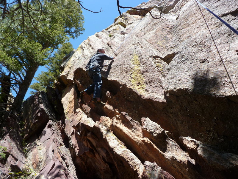 Rock Climbing Photo: Moving over the roof is the first difficult move. ...