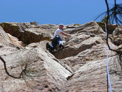 Rock Climbing Photo: The upper half is fun and juggy.  Here there is ge...