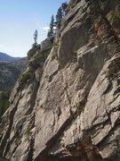 Rock Climbing Photo: The crux arete in the top center....