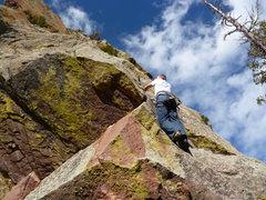 Rock Climbing Photo: Around the corner on easier ground.