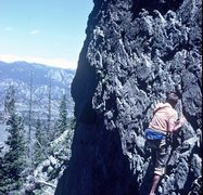 Rock Climbing Photo: Bob Culp leading on a 1980 ascent of the DeVille I...