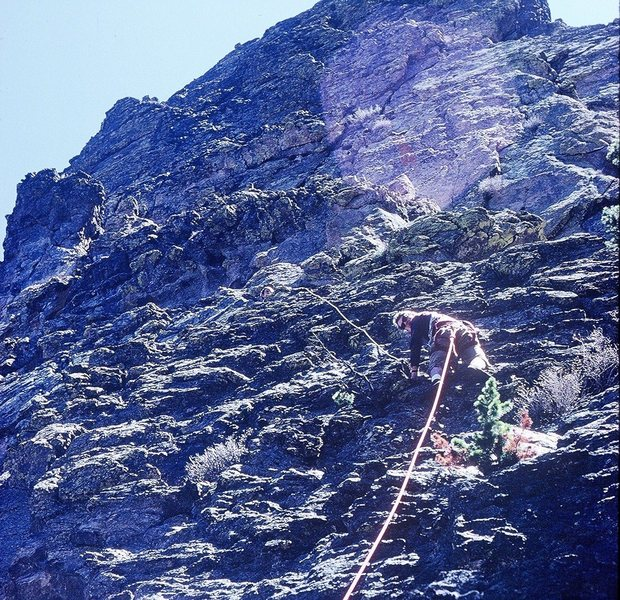 Rock Climbing Photo: Larry following on DeVille III, and view towards s...