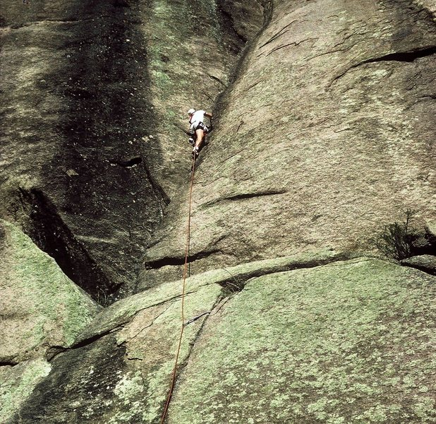 Rock Climbing Photo: Gary leading on a 1984 ascent of Classic Dihedral.