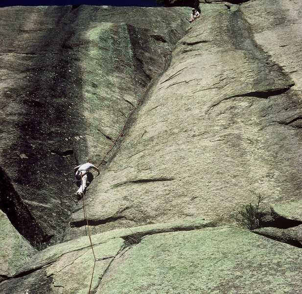 Anne Carrier seconding Classic Dihedral on a 1984 ascent.