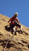 Rock Climbing Photo: Leader working the moves above the 2nd bolt on &qu...