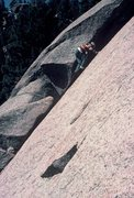 Rock Climbing Photo: Rodger leading the first pitch on bishop Jaggers; ...
