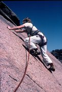 Rock Climbing Photo: Anne following the second pitch of Bishop Jaggers.