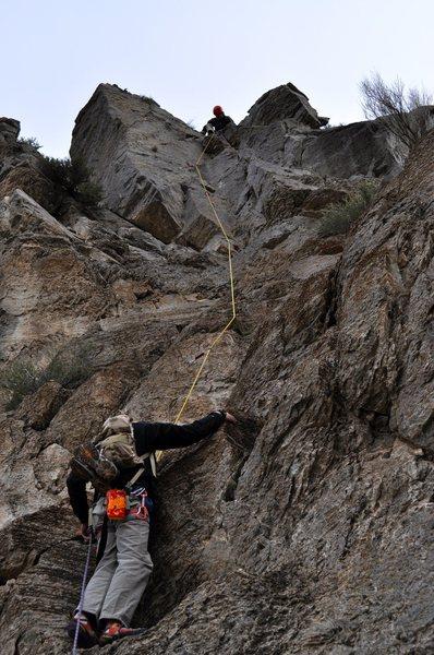 Rock Climbing Photo: Pitch two. Fun blocky climbing to a corner which d...