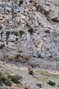 Rock Climbing Photo: Start of pitch 3. This shows the walk between the ...