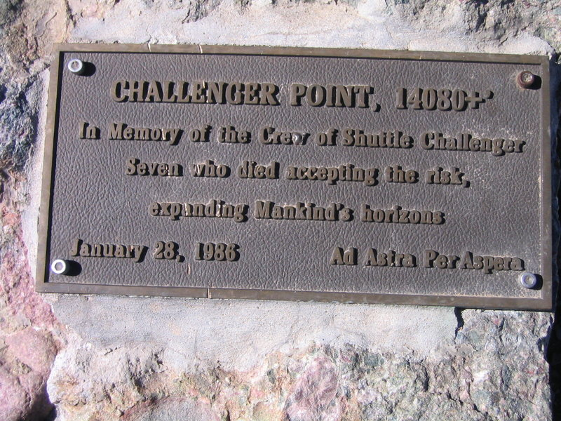 Plaque on Challenger Point
