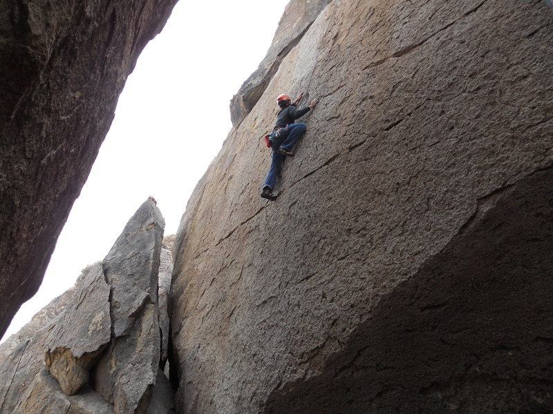 Rock Climbing Photo: Passing the thin crux on Yoda (5.10c)