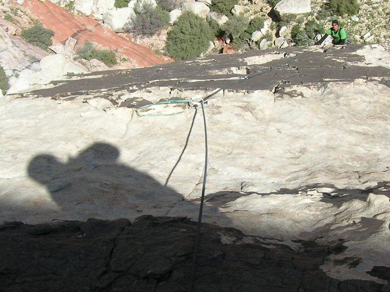 Rock Climbing Photo: Mark Climbing the second pitch. Notice the slung f...