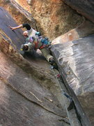 Rock Climbing Photo: First pitch of Nadia's Nine, a bit of a grovel ste...