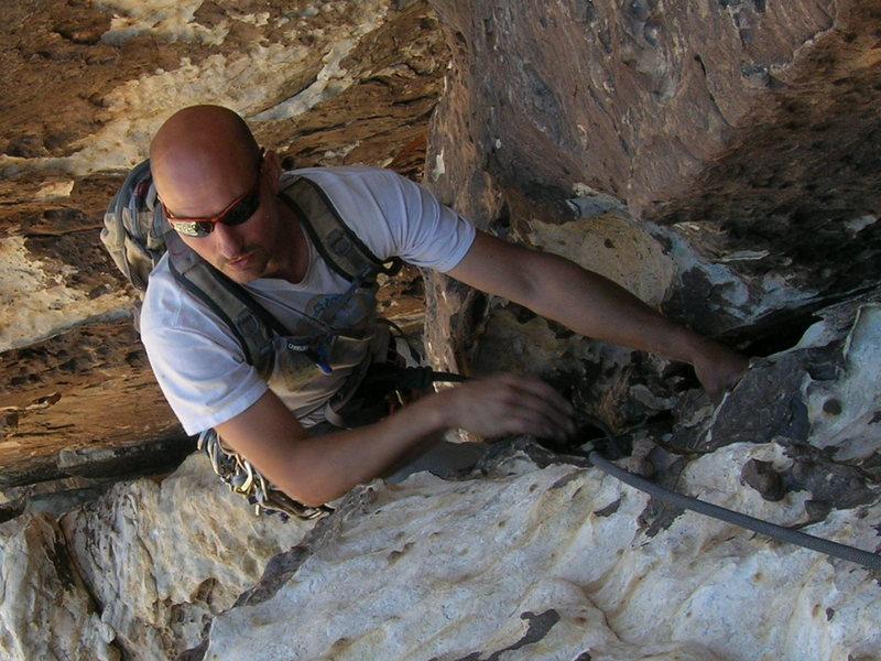 Rock Climbing Photo: Mark finishing the 1st pitch of Stilgars. Gotta lo...