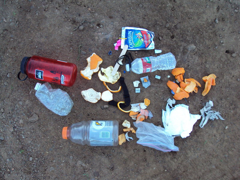 Rock Climbing Photo: Litter recently gathered from the base of Echo Cli...