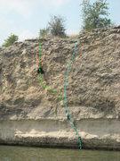 "Rock Climbing Photo: Blue - ""Nikki's Flake"" Green - ""Ped..."