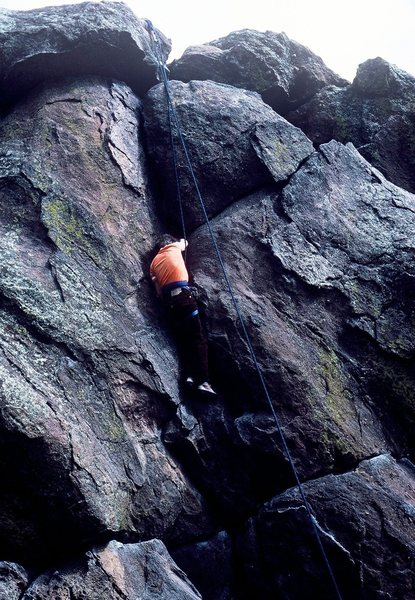 Nine year old Emil on a successful climb of the Cookie Jar Crack.