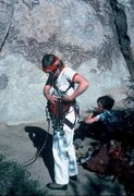 Rock Climbing Photo: Anne Carrier, gearing up to lead Tulip; 1985.