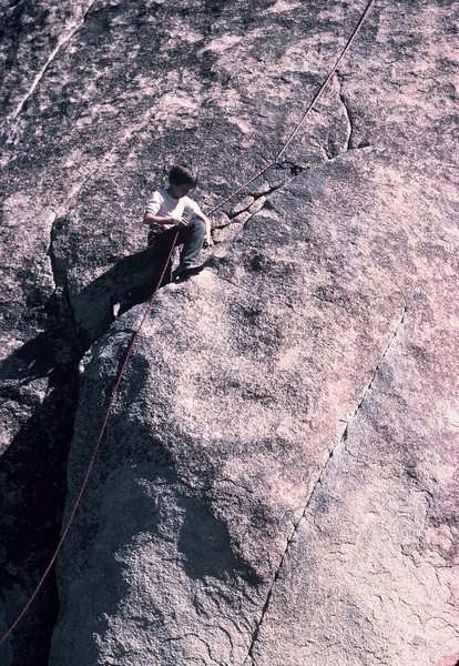 Rock Climbing Photo: Unclipping from the gear...following Tulip.