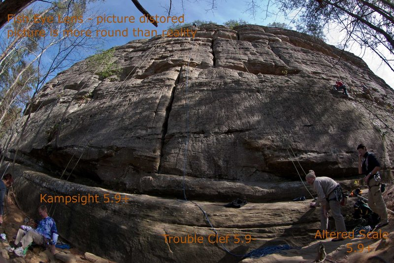 Pic of Alter Scale note it was taken with a fish eye lens so it has barrel distortion. It is still helpful to see the route look for rock features.