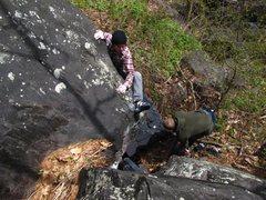 Rock Climbing Photo: Dobbe with the heel hook.