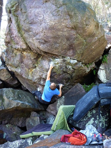 Rock Climbing Photo: Steve nailing the bad sloper.