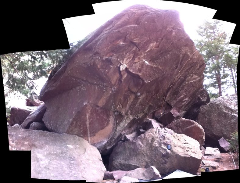 A boulder across the Milton Boulder. (On the left side of the road, if you have the Milton on your right).