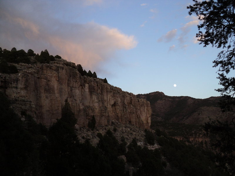 Spiney Ridge at moonrise, April, 2011.