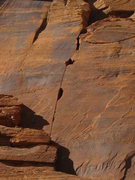 Rock Climbing Photo: The upper section of the route after exiting the c...