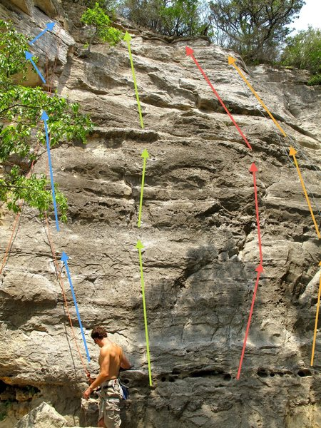Blue: Over Easy<br> Green: It's a Wiggle Butt<br> Red: (I have no idea what this route is)<br> Orange: Roo Dog