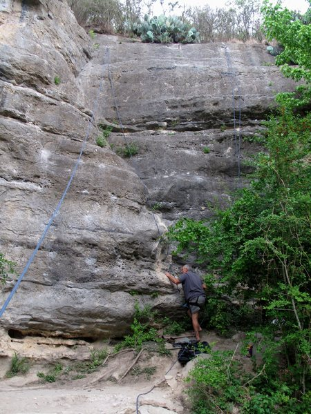 Rock Climbing Photo: My father gives it a go barefoot  :)  Rope on the ...