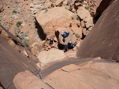 "Rock Climbing Photo: Looking down ""Right of Lieback"" from the..."