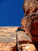 Rock Climbing Photo: Curtis S. doing his first ever trad lead on Chicke...
