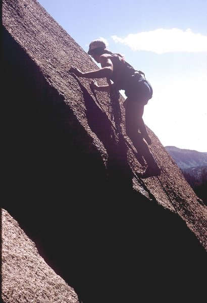 Rock Climbing Photo: Gary Molzan leading the first 5.9+ pitch.