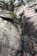 Rock Climbing Photo: This is where the ledge stops and the 5.10b Evanst...