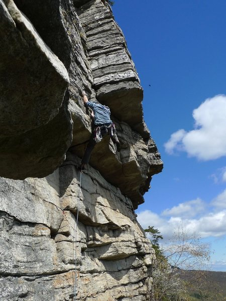 "Rock Climbing Photo: Even my 6'7"" husband, Pawel, was stretching t..."