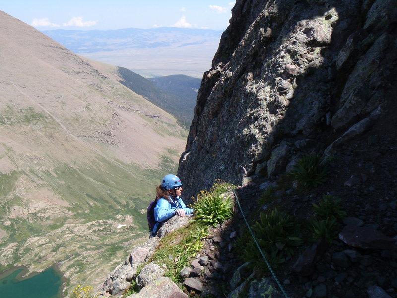 Rock Climbing Photo: Gettin' higher, Ellingwood Ledges (5.7), Crestone ...