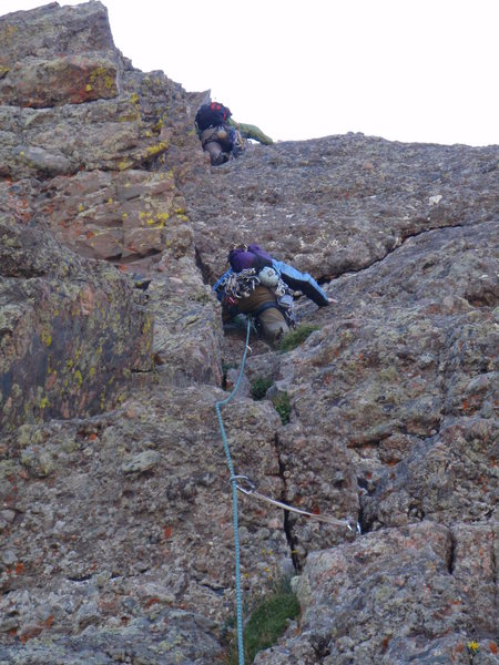 Rock Climbing Photo: Leading the money pitches on Ellingwood Ledges...s...